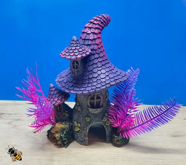 Aquarium Ornament Pixie House Purple Cave Plant Decoration Fish Bowl Tank