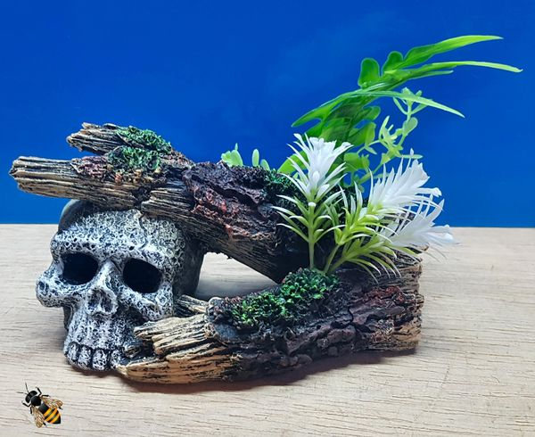 Skull Log Aquarium Ornament Plant Decoration Fish Bowl Tank Goldfish