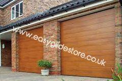 Sectional Electric Garage Door 14X7 Oak