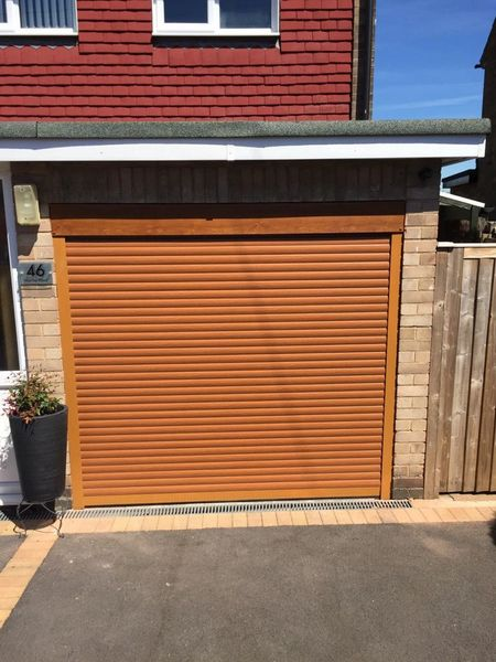 EG55 Oak Electric Roller Garage Door 8X8