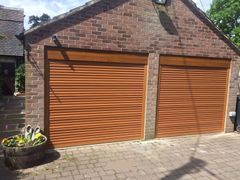 EG55Oak electric roller garage door 7x7