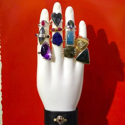 One of a kind handcrafted crystal and stone rings