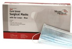Surgical Mask with Eye Shield Moorebrand Anti-fog Pleated Earloops One Size Fits Most Blue NonSterile