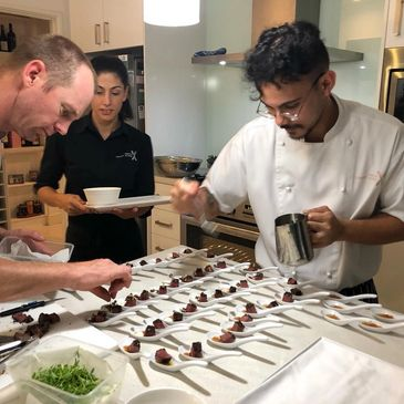 Private party caterers in Perth preparing a course of canapes for a birthday party in South Perth