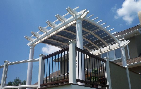White Arched Free Standing Vinyl Pergola Kit starting at