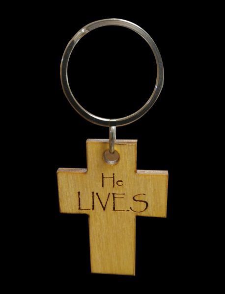HE LIVES BIRCH KEY RING