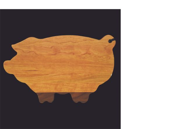 CHERRY AND WALNUT PIG CUTTING BOARD
