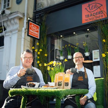 Business Directors Paul Raven & Nicholas Lee welcoming customers at Tea Traders tea shop