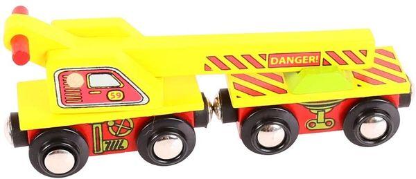 BIGJIGS WOODEN TRAIN....Yellow CRANE Wagon