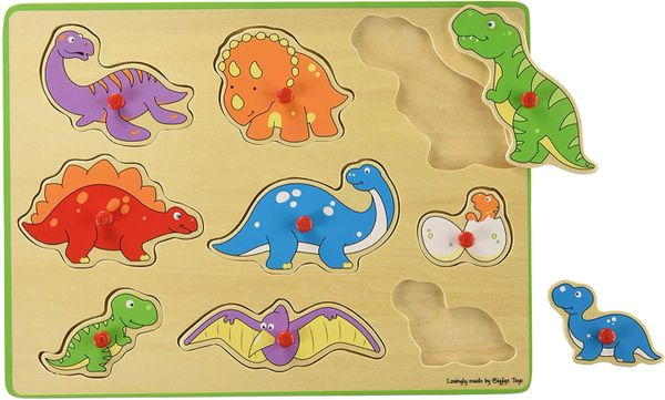BIGJIGS ..... WOODEN PEG PUZZLE ...9 X Dinosaurs to Lift In & Out
