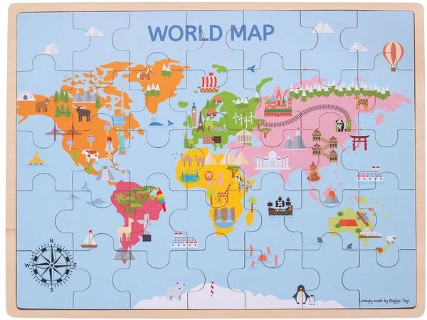 BIGJIGS WOODEN WORLD MAP 35 Pieces