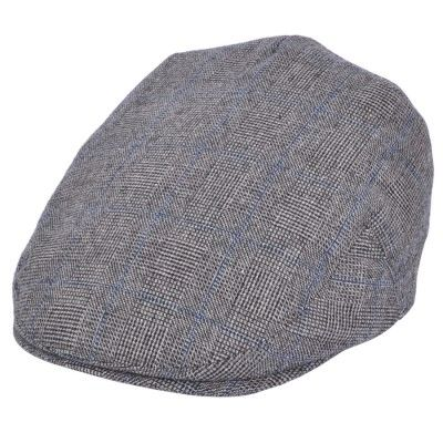 Old English Flat Cap check grey/blue Prince de Galles