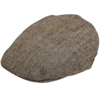 Old Enlish Flat Cap, brown/beige check, Prince de Galles
