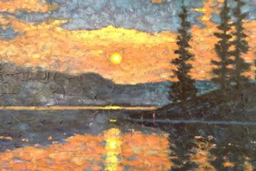 painting of sunset  over a lake with evergreen trees by Susan Hay