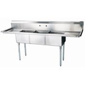 Three Compartment Stainless Steel Sink