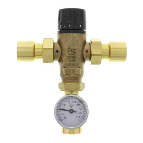 "1"" Sweat MIXCAL 3-way Thermostatic Mixing Valve w/ Temperature Gauge & Check Valve"