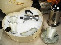 4pc Espresso Set w/espresso Pot Silver Design
