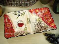 2 Section Dish Wine Cheese Design