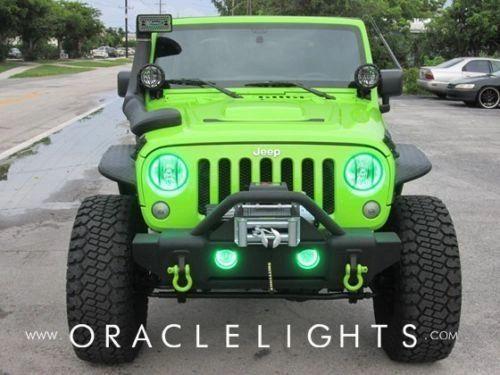 Green Jeep Wrangler >> Oracle 2665 004 2007 2015 Jeep Wrangler Jk Green Headlight Halo Light Kit