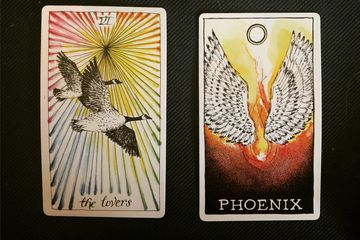 Tarot Cards, Crystals, Lovers, Phoenix
