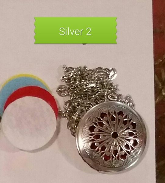 Silver 2 Aroma Therapy Diffuser Locket Necklace