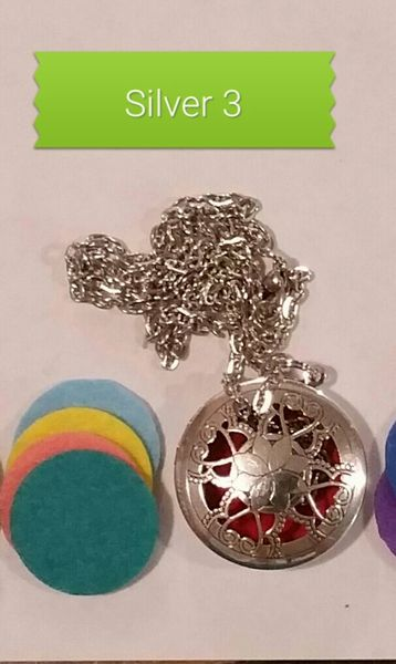 Silver 3 Aroma Therapy Diffuser Locket Necklace