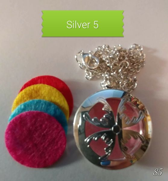 Silver 5 Aroma Therapy Diffuser Locket Necklace