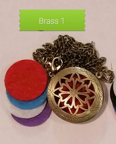 Brass 1 Aroma Therapy Diffuser Locket Necklace