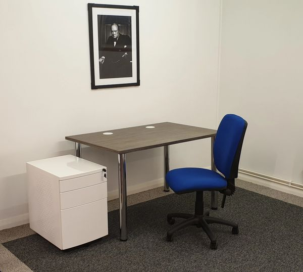 Home Office / Business Desking Set-up / Inc Sven Christiansen Zebrano Top Desk/ Pedestal / Operator Chair :