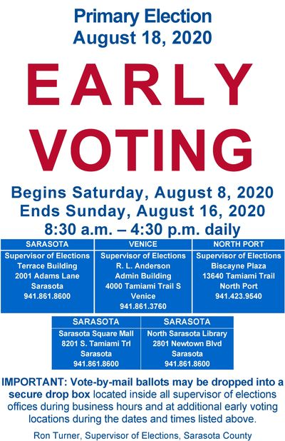 Early Voting info sheet for Sarasota County Primary