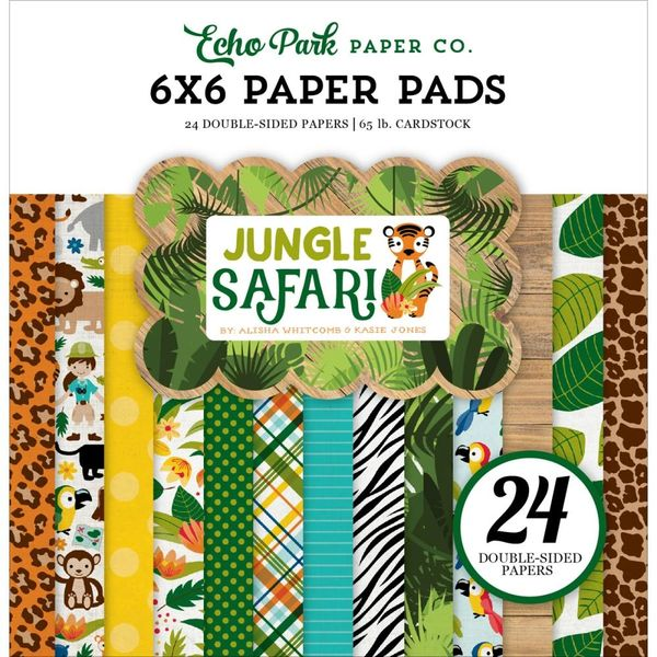 "Echo Park ""Jungle Safari"" Double-Sided Paper Pad 6""X6"" 24/Pkg ..."