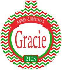Chevron Christmas Monogrammed Ornament