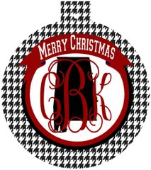 Alabama Houndstooth Christmas Monogram Ornament