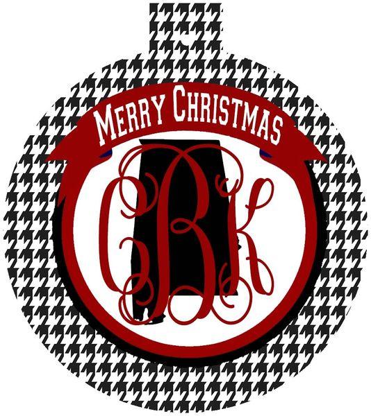 Alabama Houndstooth Christmas Monogram Ornament
