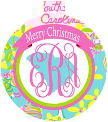 South Carolina Lilly Monogrammed Ornament