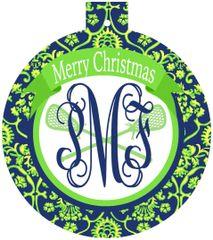 Lacrosse Christmas Monogrammed Ornament