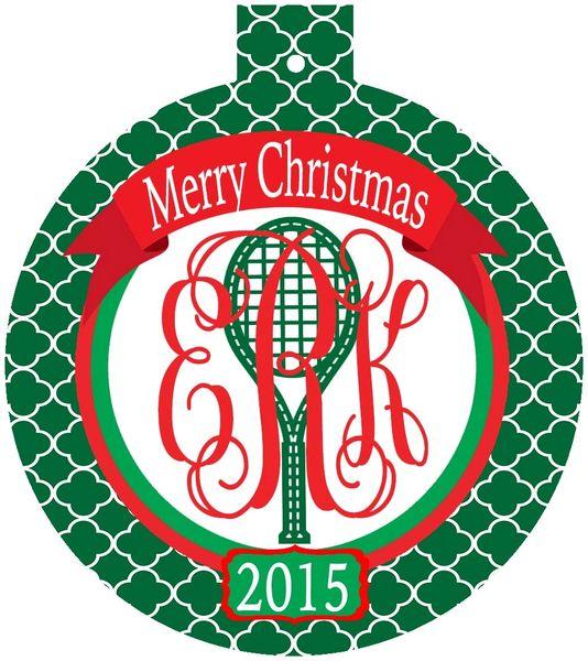 Tennis Quatrefoil Monogrammed Ornament