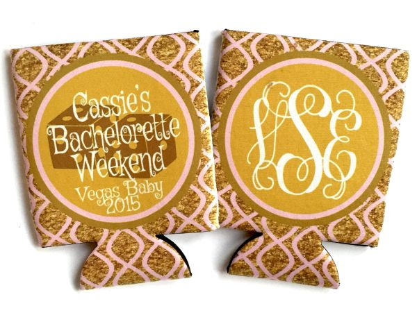 Vegas Glitter Bachelorette Party Wedding Coozies