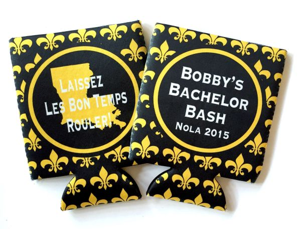 New Orleans Black and Gold Fleur De Lis Coozies