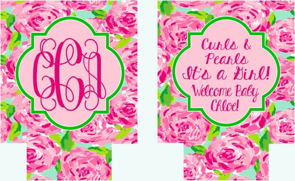 Floral Baby Shower Party Coozies