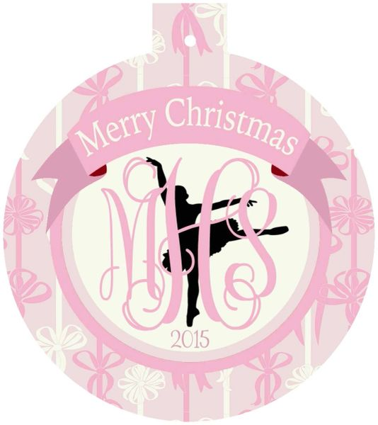 Ballet Ribbons Christmas Personalized Ornament