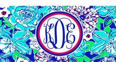 Blue Floral License Plate