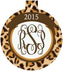 Leopard Christmas Monogrammed Ornament