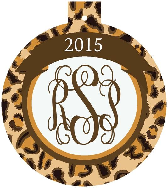 Leopard Christmas Monogrammed Ornament