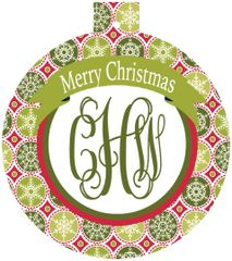 Classic Print Christmas Monogrammed Ornament