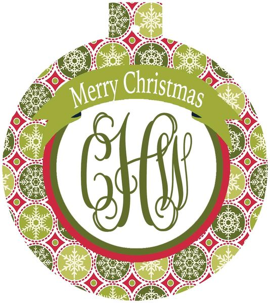 Classic Print Christmas Monogrammed Ornament