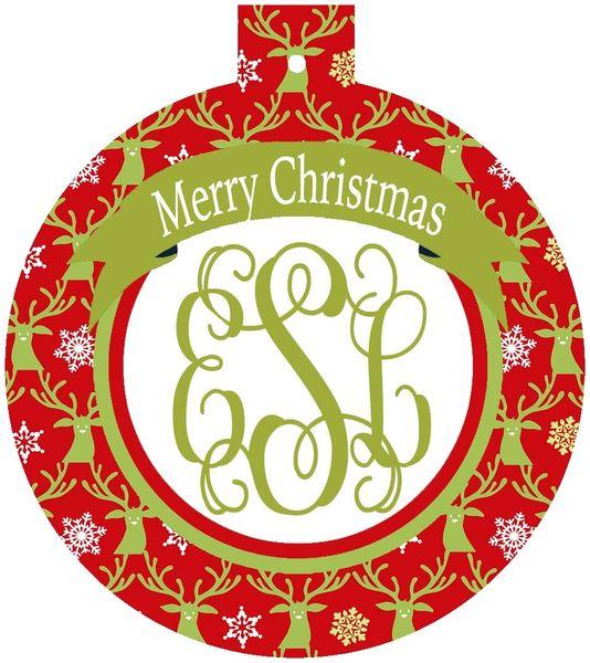 Deer Christmas Monogrammed Ornament