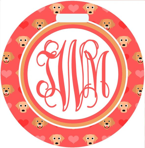 Golden Dogs Monogrammed Luggage Tag