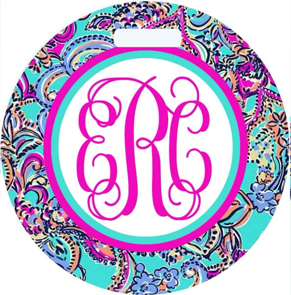 Nautical Floral Monogrammed Luggage Tag