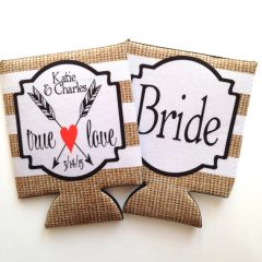 Wedding Burlap True Love Bride and Groom Coozies